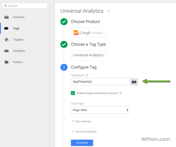 Google Analytics with Variable Google Tag Manager