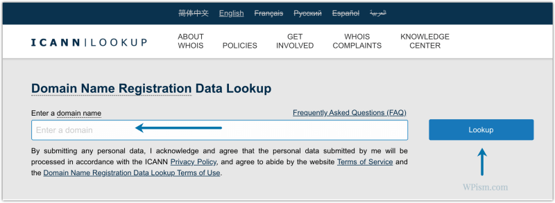 ICANN whois Lookup tool to find out website publisher