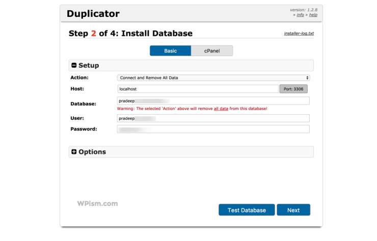 Install Database Duplicator Plugin Migrating WordPress