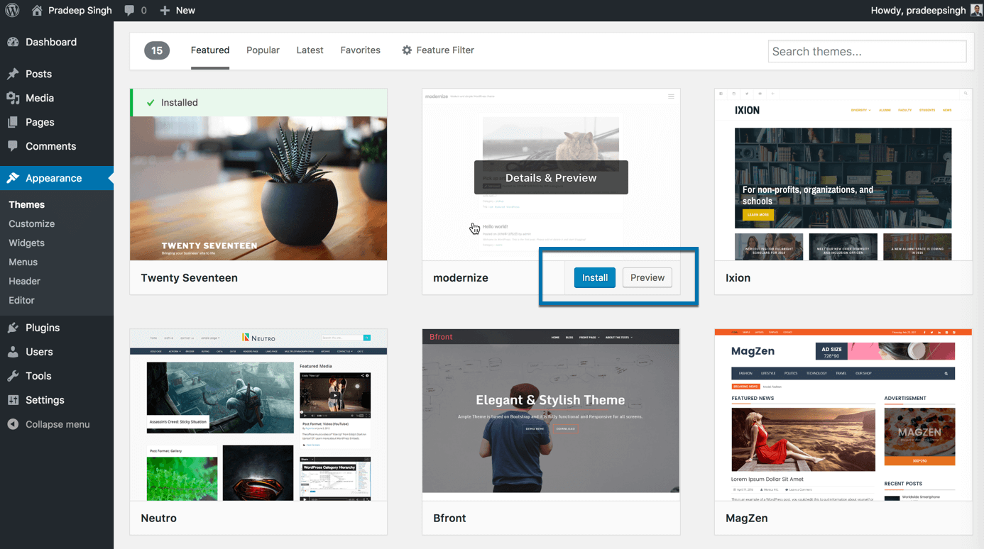 Install and Preview WordPress Themes for Blog