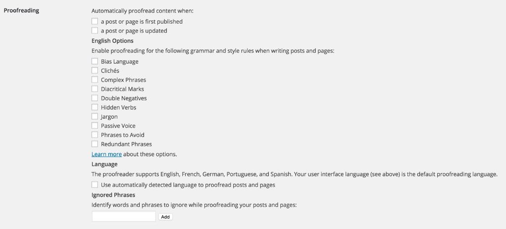 Jetpack Grammar and Spelling Settings