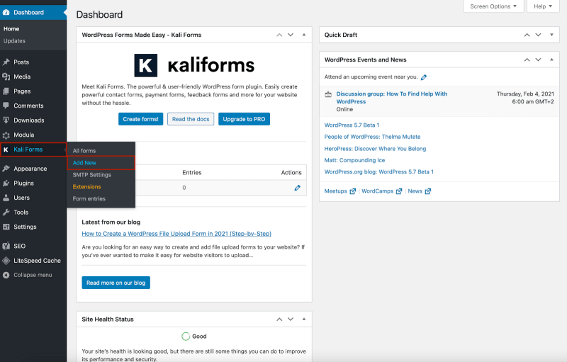 Kali Forms create a new form review