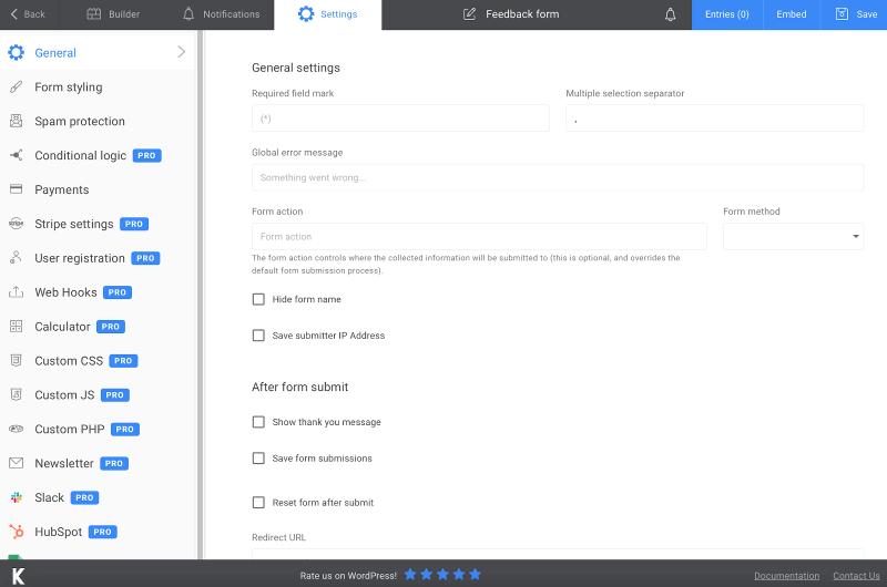 Kali Forms settings