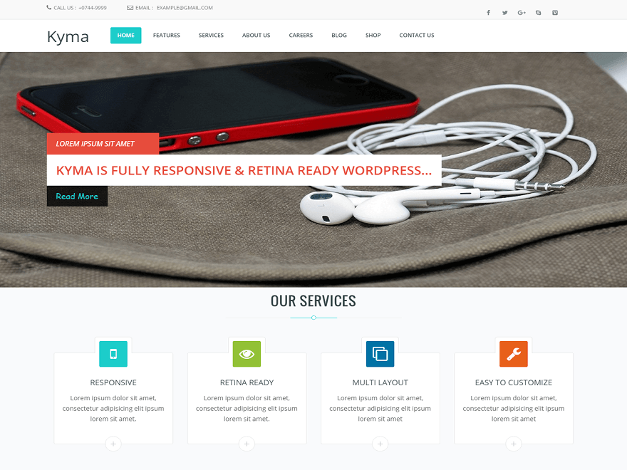 Kyma By WebHunt Infotech WordPress Theme