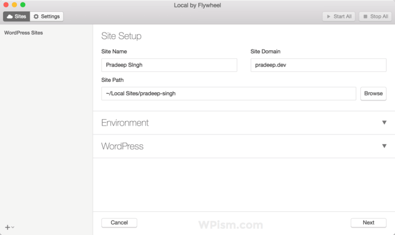 Local by Flywheel WordPress Tool Site Setup Otion