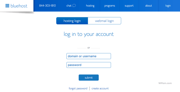 Login to BlueHost blog hosting account