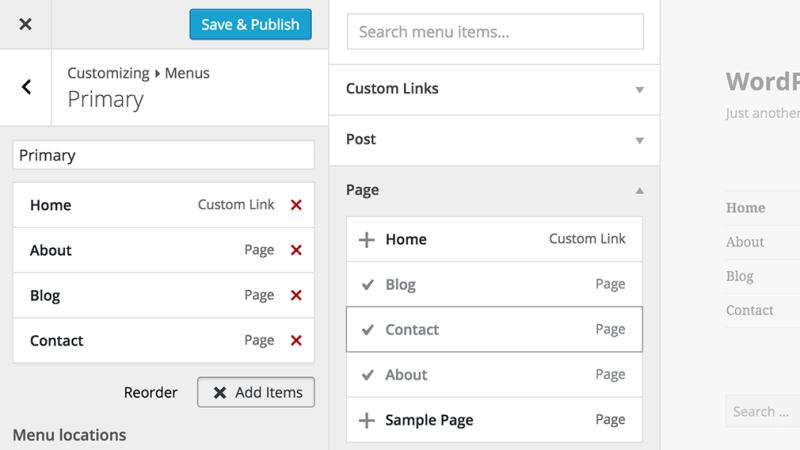Menus in WordPress Customizer