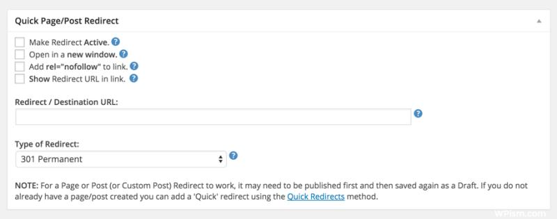 Metabox in visual editor WordPress to add 301 Redirects