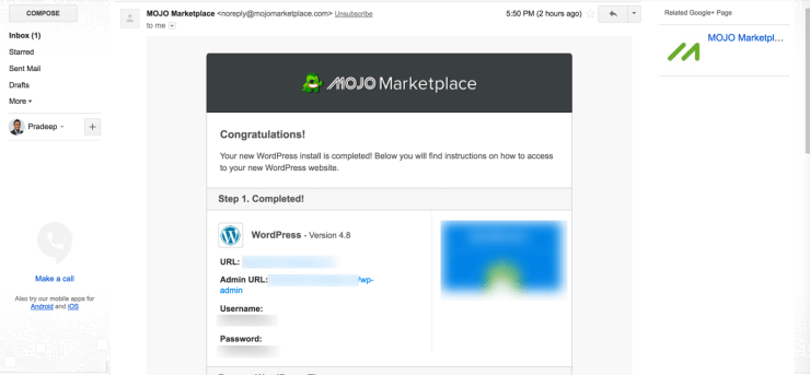 Mojo Marketplace New Blog Install Email