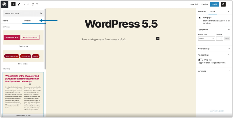 New Block Patterns WordPress 5.5