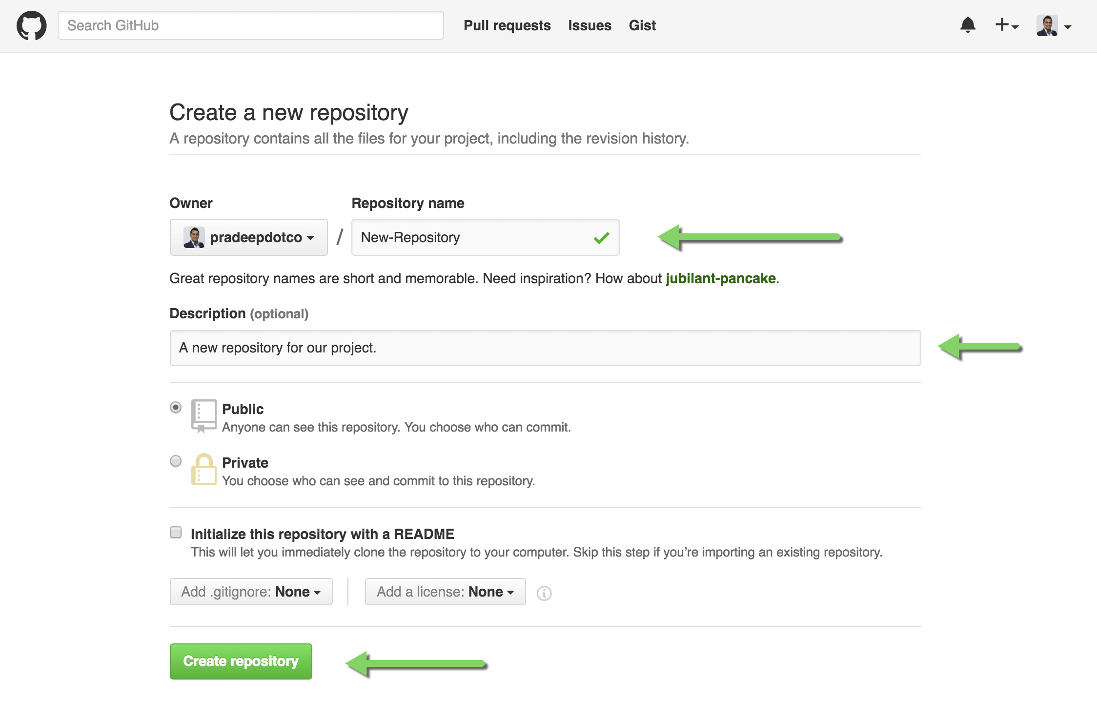 New Github Repository details