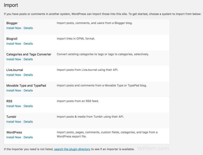 New Import Screen in WordPress 4.6