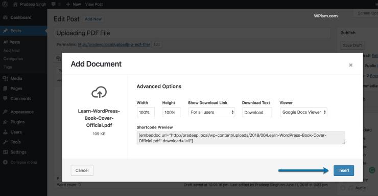 PDF Insert WordPress Plugin Button