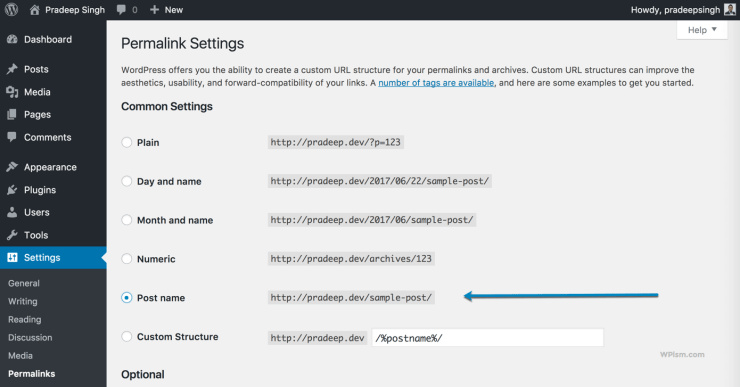Permalink Settings for Blog Structure
