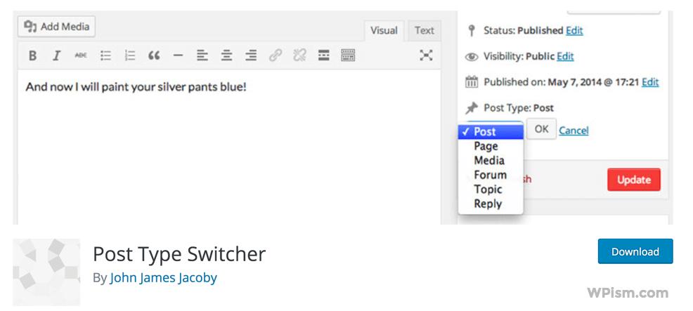 Post Type Switcher Plugin WordPress