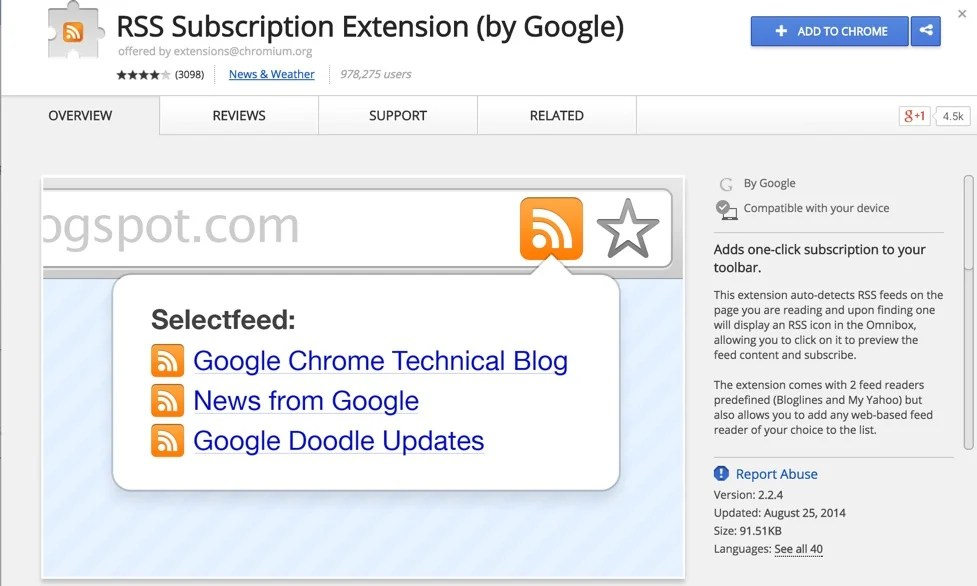 RSS Subscription Extension by Google