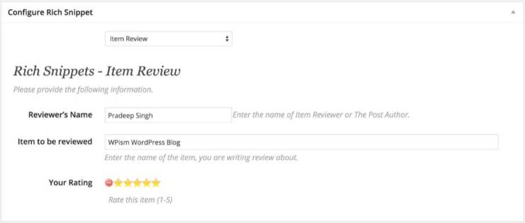 Rich Snippets WordPress Item Review