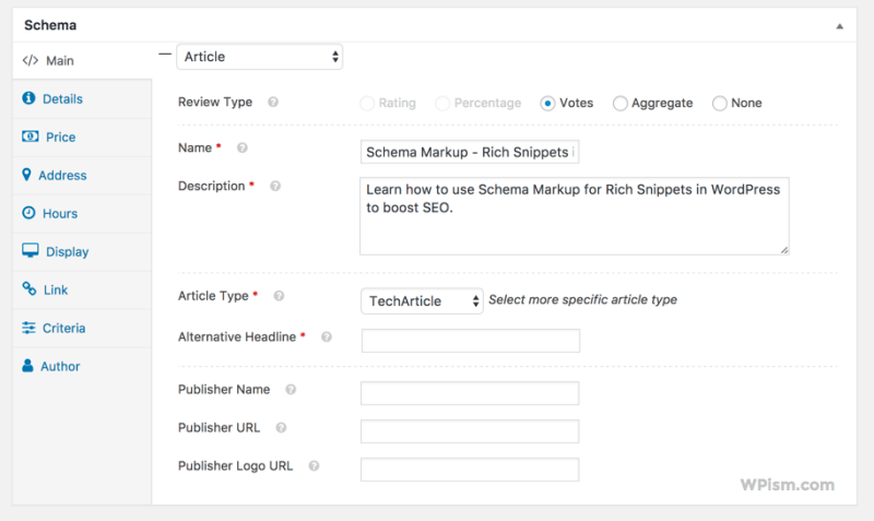 Rich Snippets post meta box