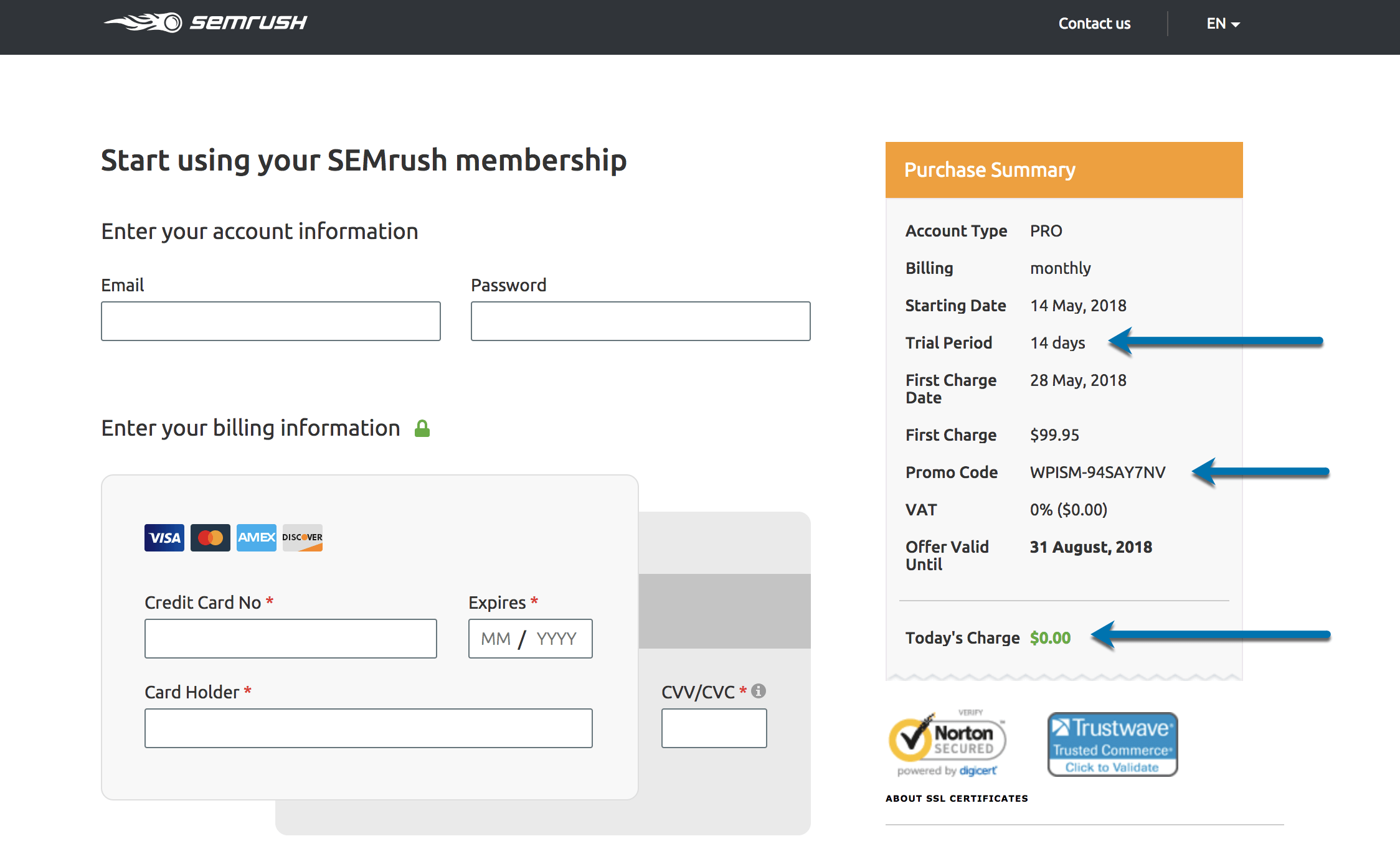 SEMrush coupon code 2018 discount