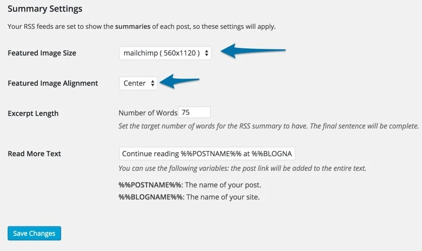 Send Images to RSS Plugin settings Summary