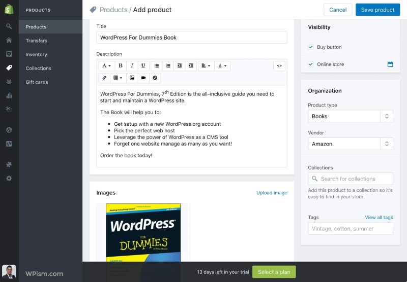 Shopify Add Product WordPress