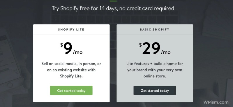 Shopify Pricing Plans Lite and Basic for WordPress