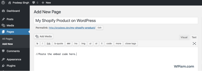 Shopify Product on WordPress page embed