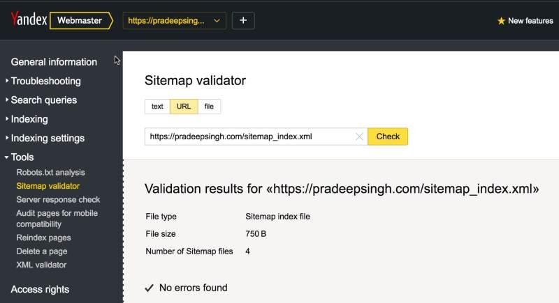 Sitemap Validator Yandex Webmaster Tools