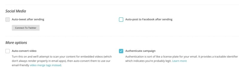 Social Media Options Campaing Settings Mailchimp RSS