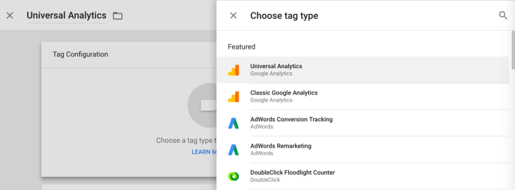 Universal Analytics under Tag Type Tag Manager