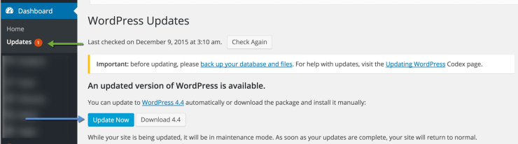 Update to WordPress 4.4 Version