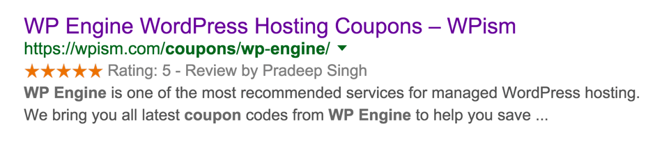 WP Engine Coupon Rich Snippets WordPress
