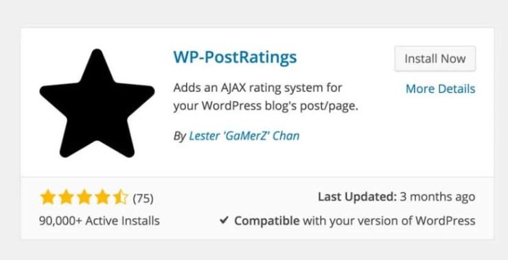 WP Post Ratings WordPress Plugin