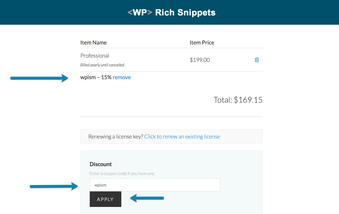 WP Rich Snippets Coupon Code wpism