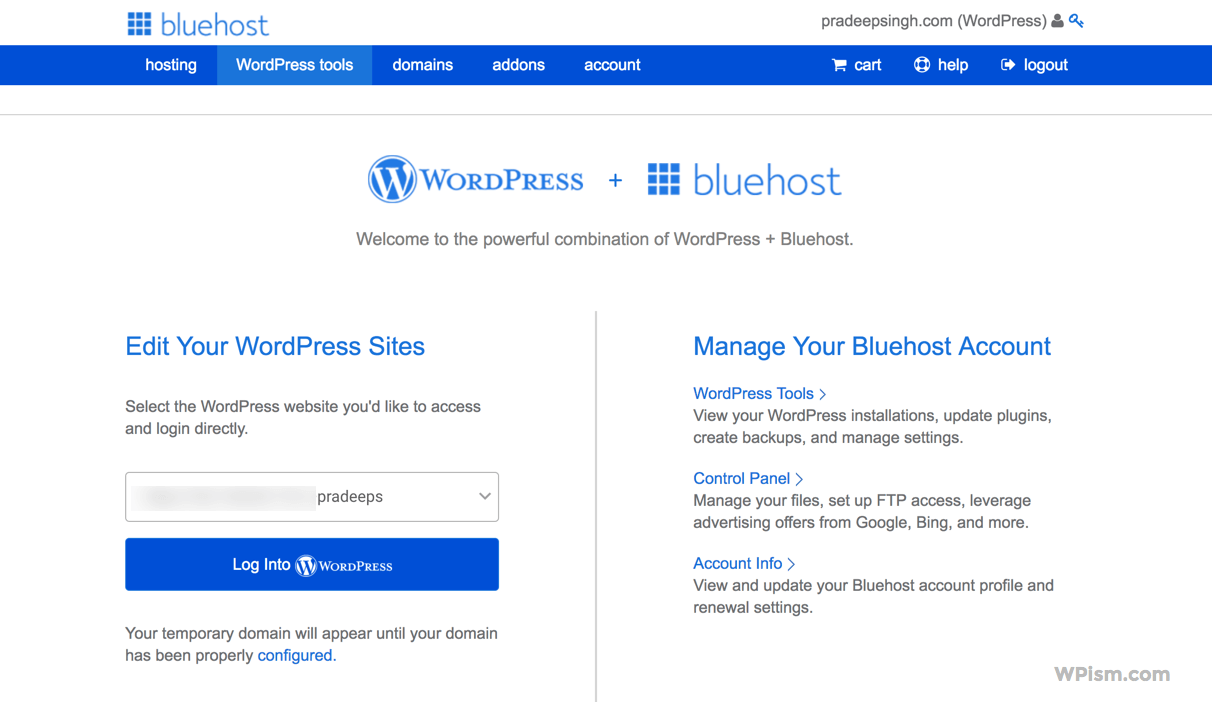 WordPress Hosting BlueHost Review Dashboard