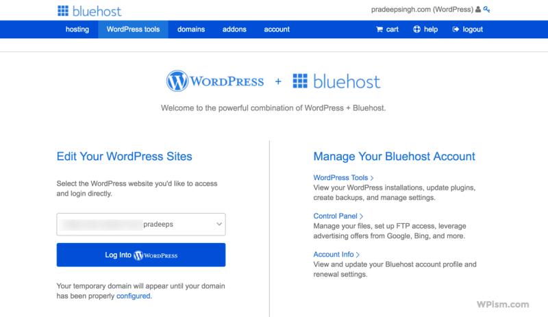 WordPress Hosting BlueHost Review Dashboard