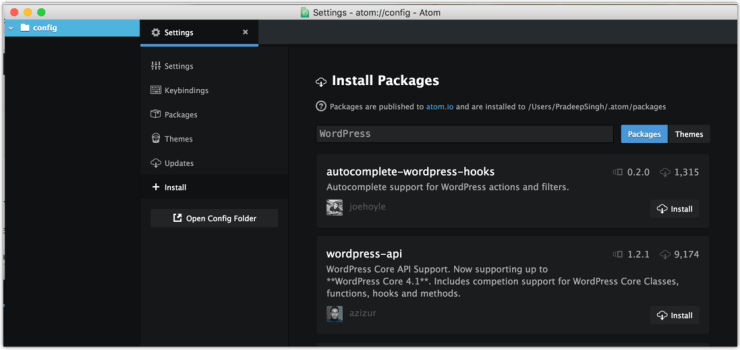 WordPress Search for Install Packages