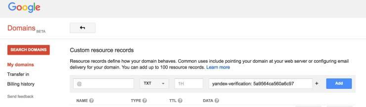 Yandex Webmasters tool Google Domains DNS TXT