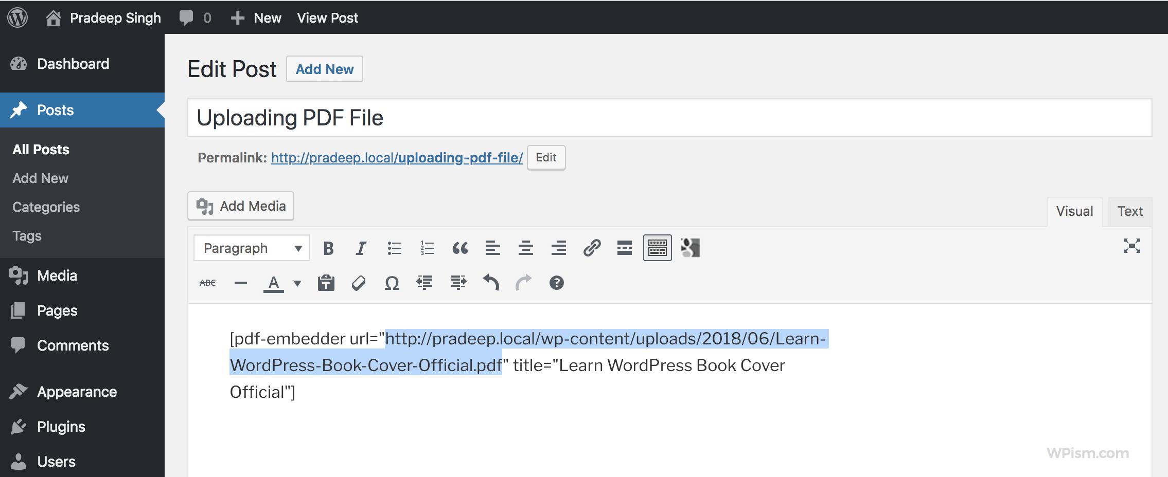 embed PDF File WordPress shortcode