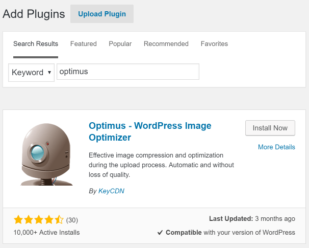 install-wordpress-optimus-image-optimizer