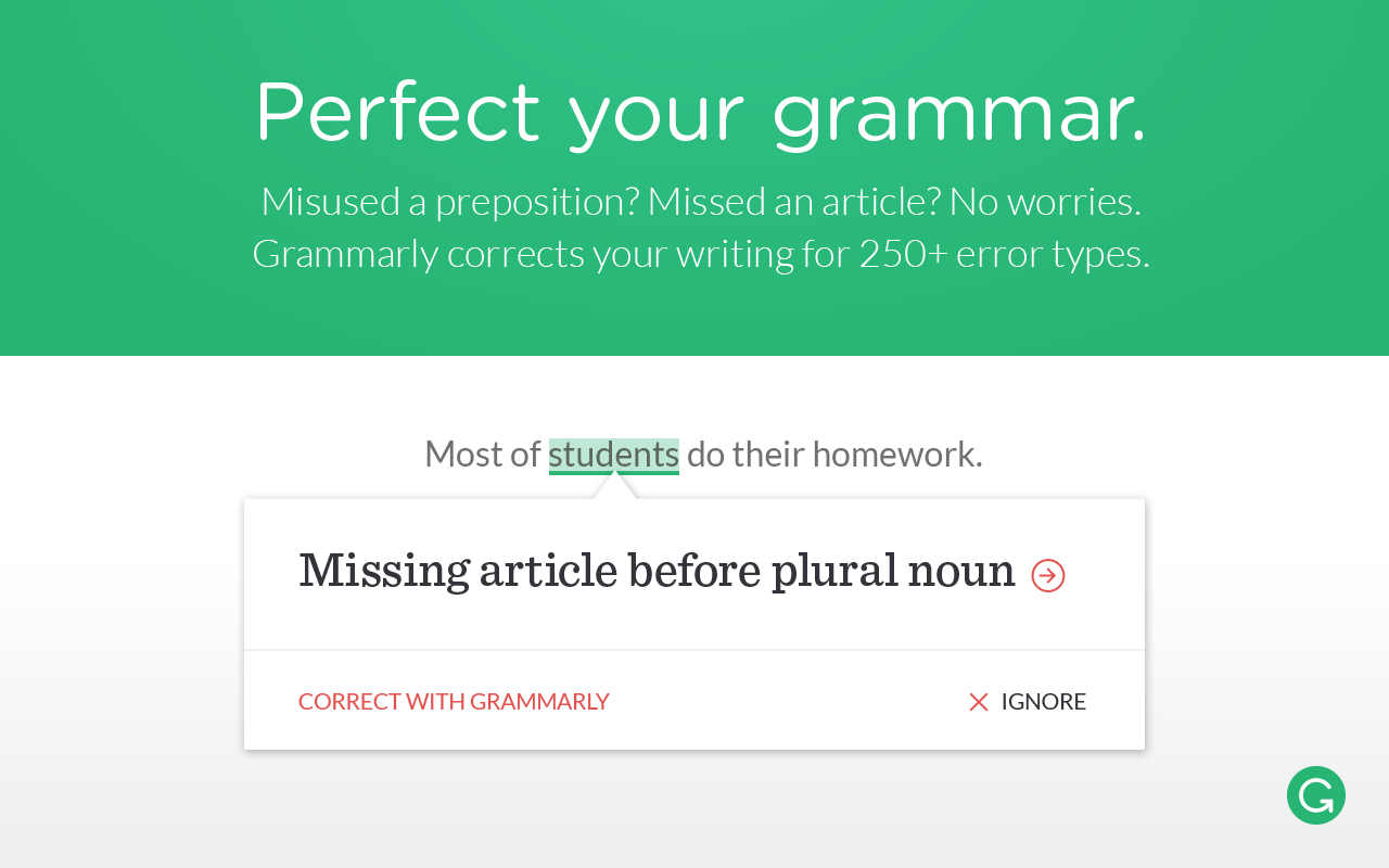 perfect Grammar online with Grammarly