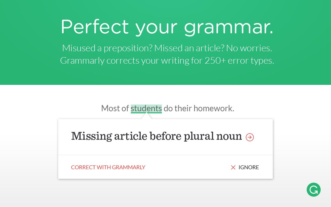 perfect Grammar online with Grammarly
