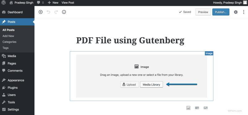 uploading PDF File using Gutenberg Editor