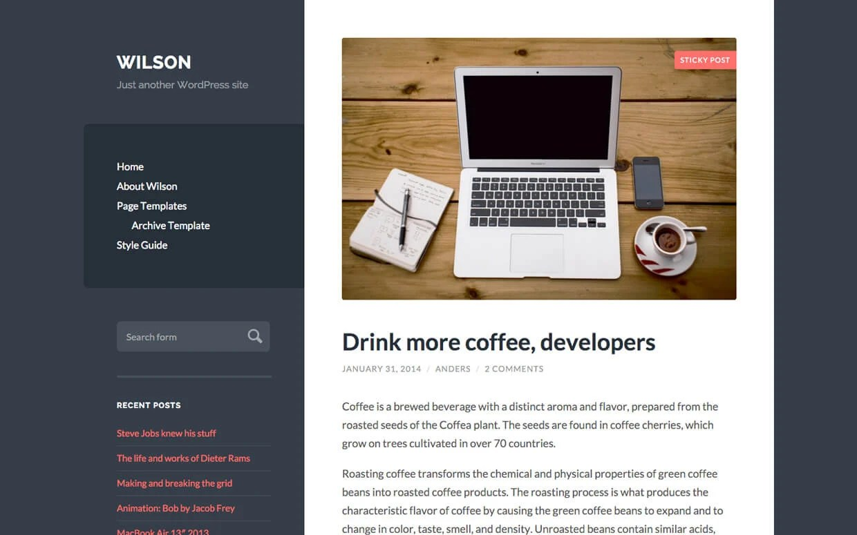 wilson WordPress Medium Theme