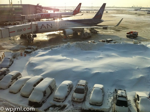 LAN and TAM after the storm LAN and TAM airlines parked in JFK after snow storm