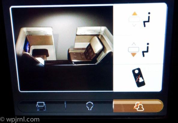 Etihad Airways New York to Abu Dhabi First Class - Seat Controls