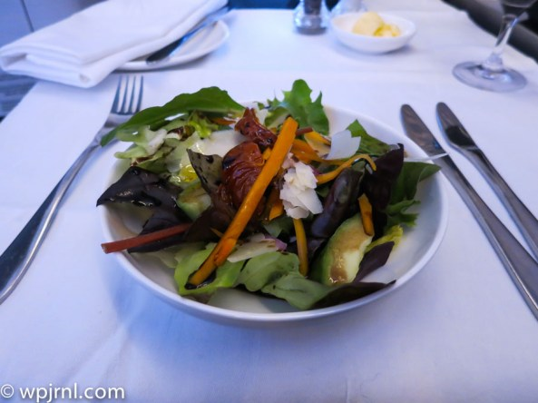New British Airways First Class London to Miami - Salad