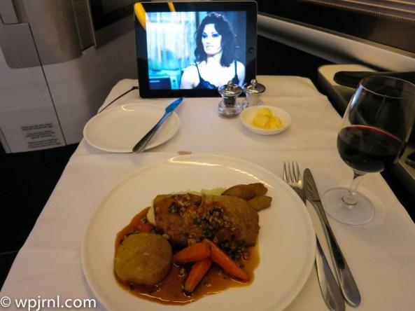 New British Airways First Class London to Miami - Chicken