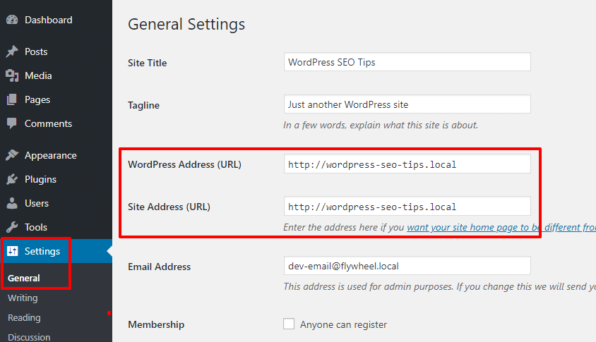 WordPress URL