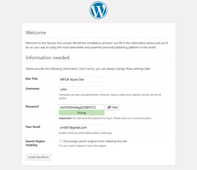 Set up WordPress on Azure